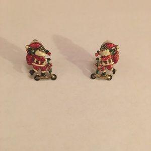Vintage Santa Scooter Clip Earrings